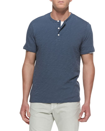 Slub Short-Sleeve Henley, Light Blue