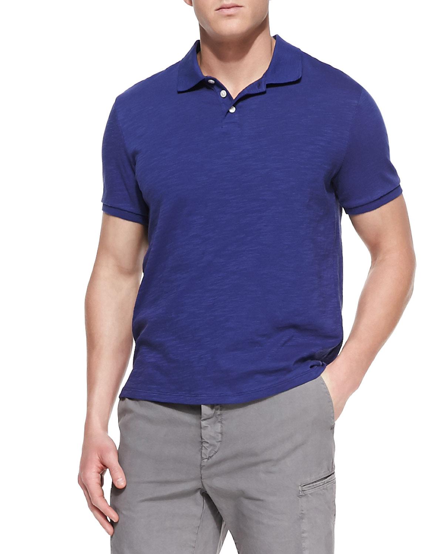 Mens Slub Jersey Polo Shirt, Blue   Vince   Blue (LARGE)