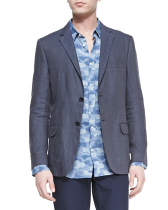Linen Two-Button Blazer, Blue