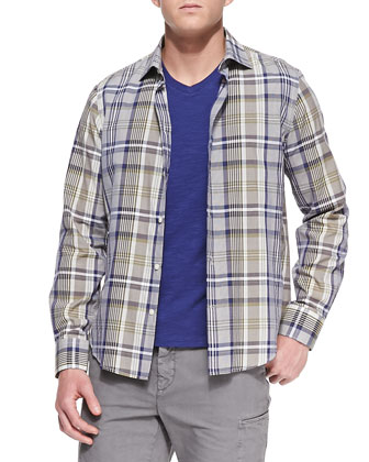 Woven Plaid Sport Shirt, Slub Jersey V-Neck Tee & Welt-Cargo Pocket Shorts ...