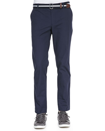 Crisp Cotton Trousers, Navy