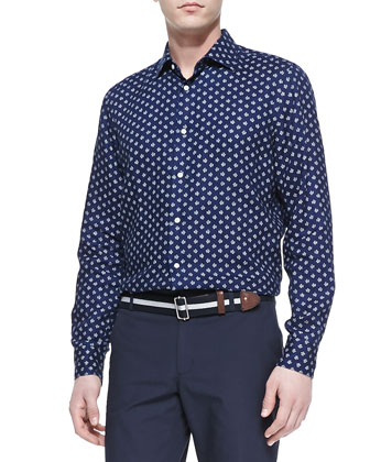 Small-Floral-Print Linen Shirt, Navy
