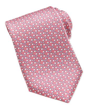 Dragonfly-Pattern Silk Tie, Pink