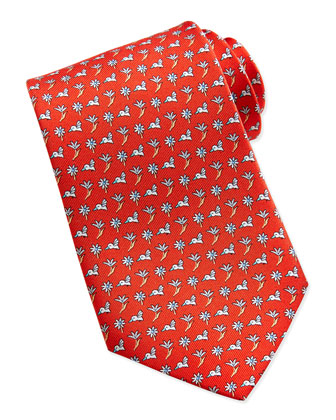 Hummingbird/Floral Pattern Silk Tie, Red