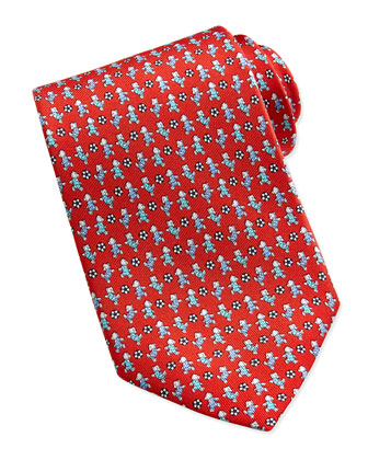 Teddy Bear/Soccer Pattern Silk Tie, Red