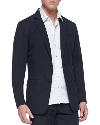 Phillips Cotton-Blend Blazer, Navy