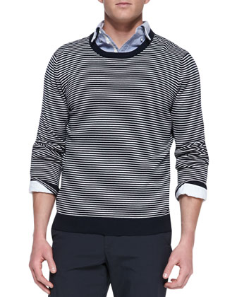 Jayden Striped Crewneck Sweater, Button-Down Oxford Shirt & Cotton-Blend ...