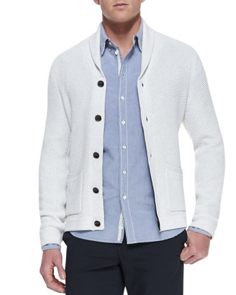 Perforated Knit Shawl Cardigan, Light Gray