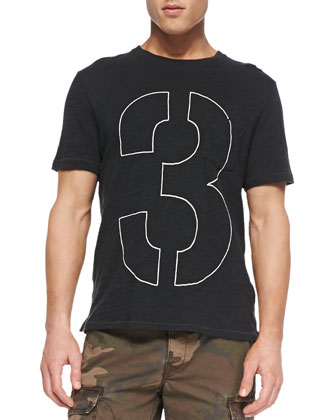 Short-Sleeve Number Tee, Black