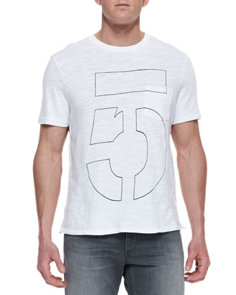 Number Pocket Tee, White