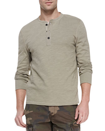 Long-Sleeve Basic Henley Shirt, Beige