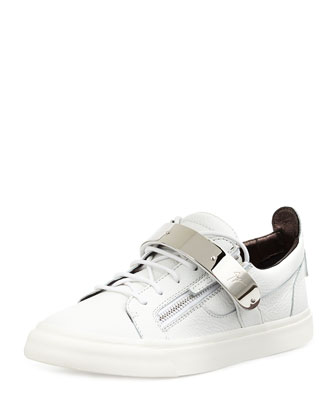 Men's Zip & Buckle Low-Top Sneaker, White