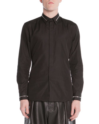 Zip-Collar Dress Shirt, Black