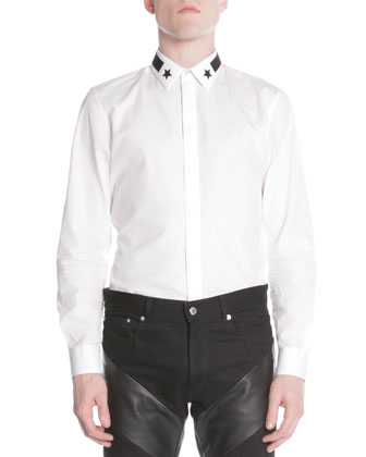 Asymmetric Leather Moto Jacket, Star & Stripe Collar Button-Down Shirt & ...
