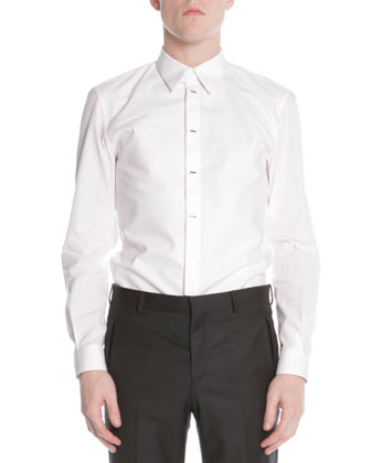 Silver-Bar-Front Poplin Shirt, White