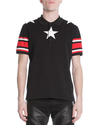 Star Knit Polo & Leather-Panel Denim Jeans