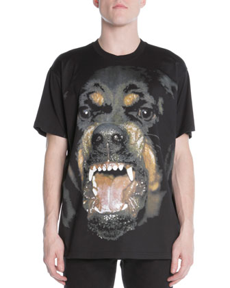 Snarling Rottweiler Dog Jersey Tee & 3-Star Faded Jeans