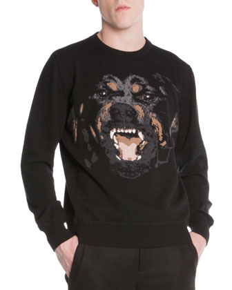 Zip-Back Pea Coat, Rottweiler-Embroidered Pullover Sweater & 3-Star Faded Jeans