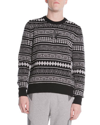Striped Fair Isle Sweater, Black/White