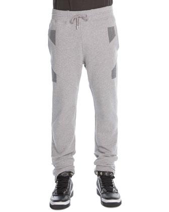 Denim-Patchwork Sweatpants, Gray