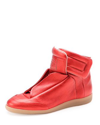 Future Metallic Leather High-Top Sneaker, Red