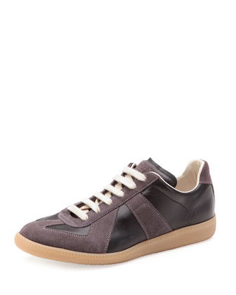 Replica Leather Low-Top Sneaker, Black/Graphite