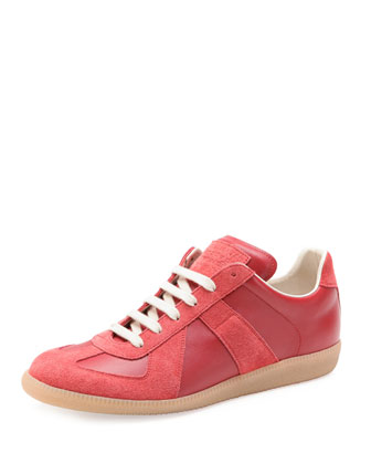 Replica Leather Low-Top Sneaker, Red