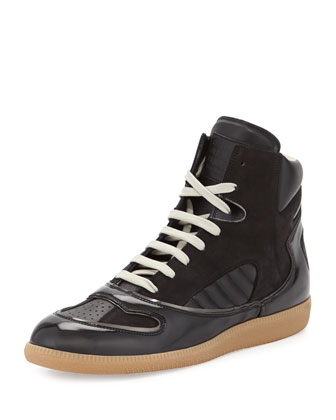 Mixed-Leather High-Top Sneaker