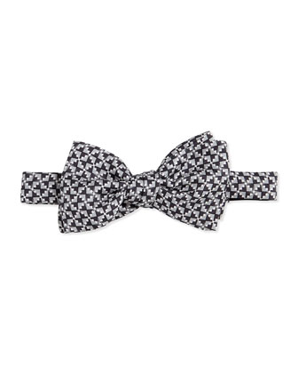 Geometric-Print Silk Bow Tie, Dark Gray