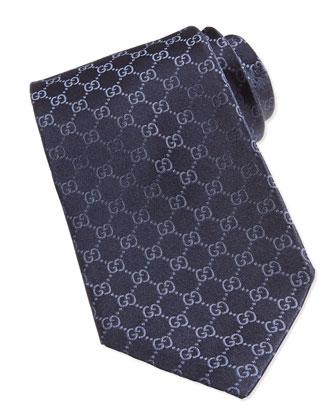 GG Silk Tie, Blue