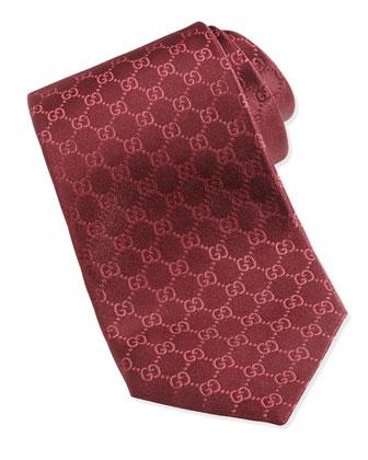 Woven Silk GG Tie, Red