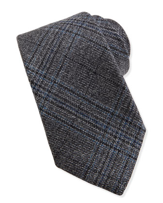 Woven Wool Plaid Tie, Black