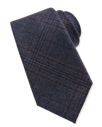 Woven Wool Plaid Tie, Blue