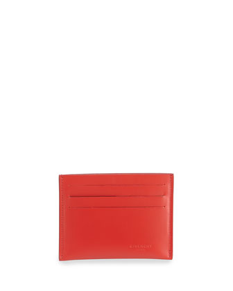 Smooth Leather Cardholder, Red