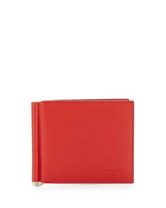 Money Clip Leather Billfold Wallet, Red