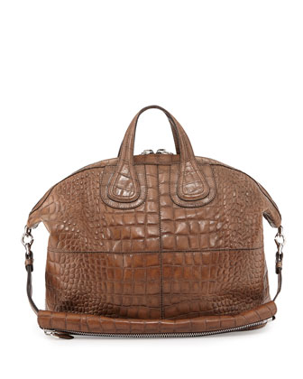 Nightingale Men's Croc-Embossed Satchel Bag, Brown