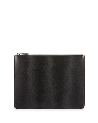Large Pony Hair-Embossed Leather Pouch, Black