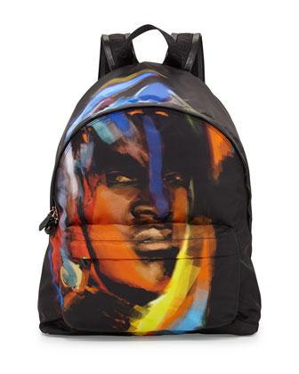 Face-Print Nylon Backpack, Multi