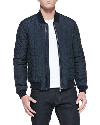 Quilted Blouson Jacket, Navy