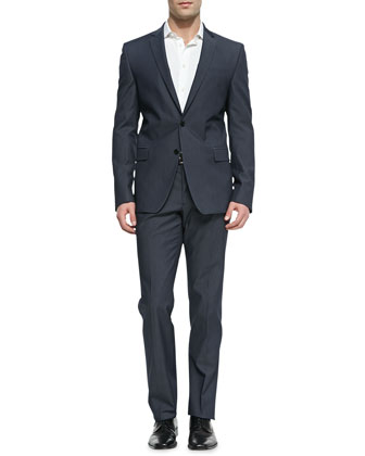 Trend-Fit Notched-Lapel Suit, Gray
