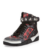 Tyson Stars Plaid High-Top Sneaker