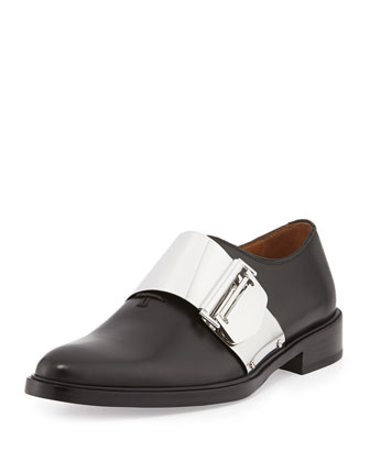 Richelieu Metal Buckle Loafer, Black