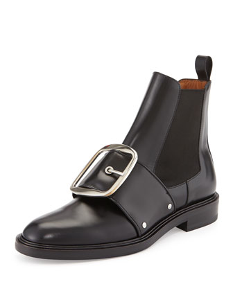 Buckled Calfskin Chelsea Boot, Black