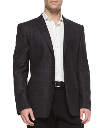 City-Fit Two-Button Plaid Jacket, Gray