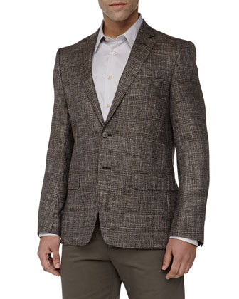 City-Fit Two-Button Plaid Jacket, Tan