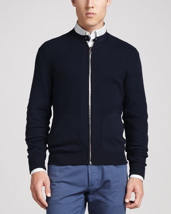 Knit Zip Cardigan, Navy