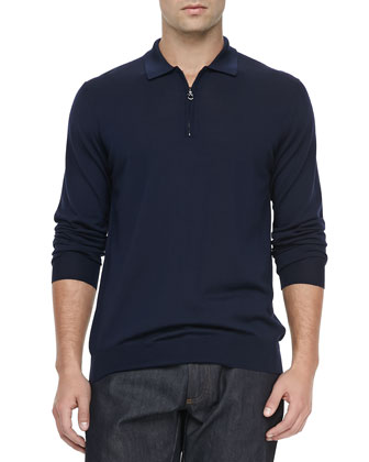 1/4-Zip Long-Sleeve Polo Sweater, Navy
