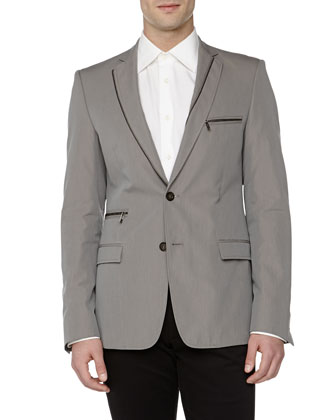 Trend-Fit Zipper-Detail Jacket, Gray