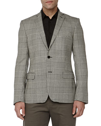 Trend-Fit Herringbone 2-Button Jacket