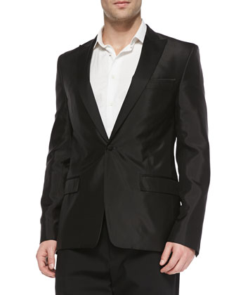 Satin Evening Jacket, Black